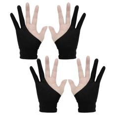 Hình ảnh 2 đôi Chuyên Nghiệp 2 ngón tay Nghệ Sĩ Máy Tính Bảng Vẽ Găng Tay Chống bám bẩn cho Máy Tính Bảng Vẽ Đồ Họa Vẽ Bút Kích Thước Hiển Thị m-Màu Đen-intl