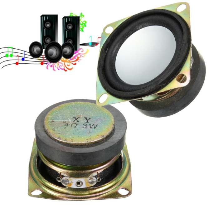 "2pcs 52mm 2"" inch 4Ohm 4Ω 3W Full Range Audio Speaker Stereo ."