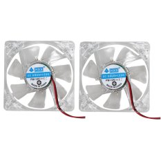 2pcs 80mm 80x25mm Fans 4 Blue 4pin for Computer PC Case Cooling Cooler  - Intl