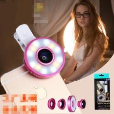 Hình ảnh 3 trong 1 Vòng LED Cho Selfies Đèn Ống Kính Đèn Pin Ống Kính 185 Độ Ống Kính Mắt Cá 10x Macro 0.65x Ống Kính Góc Rộng điện Thoại di động Ống Kính-quốc tế
