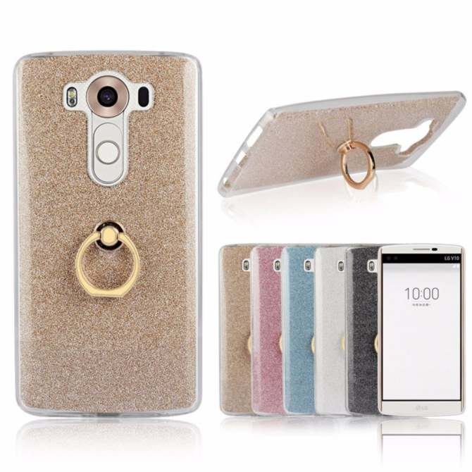 3-in-1 Multifunction Metal Buckle Ring TPU Phone Cover Case for LG V10