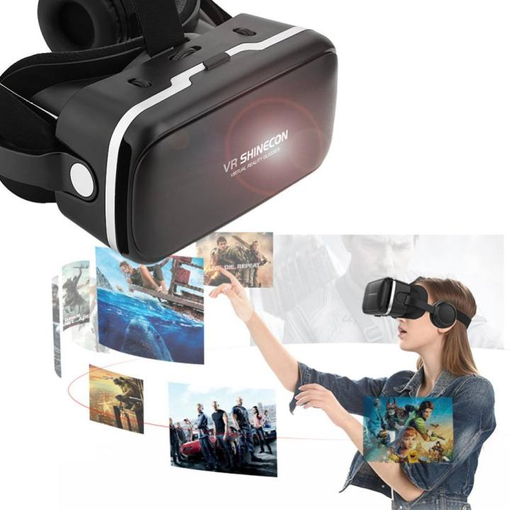 Kính thực tế ảo 3D VE SHINECON có tai nghe dành cho điện thoại IOS và Android
