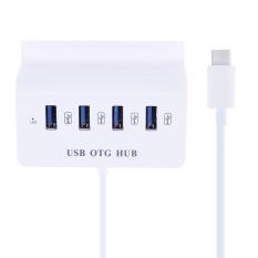Hình ảnh 4 cổng USB 2.0 OTG Hub w/Điện Thoại Đế Đứng dành cho Điện Thoại MÁY TÍNH (Trắng) -loại-c-quốc tế