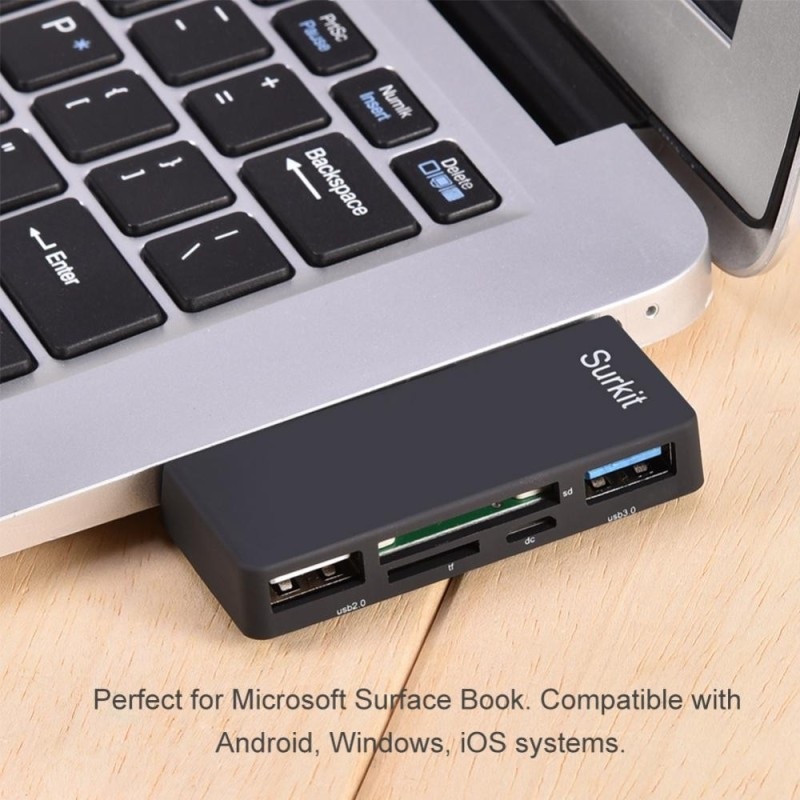 Bảng giá 5-in-1 USB 3.0 to TF / SD Card Reader 2-Port USB Hub Adapter for Surface Book Laptop Computer - intl Phong Vũ