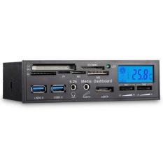 5.25 inch 6 trong 1 2 cổng USB 3.0 e-SATA Nội Bộ Đầu Đọc Thẻ Truyền Thông Bảng Điều Khiển MÀN HÌNH LCD điều Khiển quạt với Esata và Hd/Giao Diện Âm Thanh (Đen) -quốc tế
