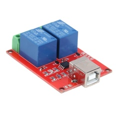 Hình ảnh 5V 2 Channel Driver-Free USB Smart Control Switch Relay Module for PC (Red + Blue) - intl