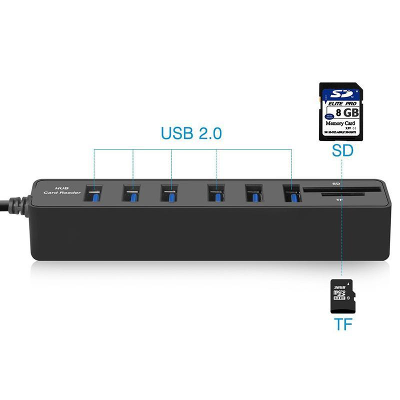Bảng giá 6 Ports USB 2.0 Hub Splitter Multi USB 2 In 1 SD/TF Card Reader - intl Phong Vũ