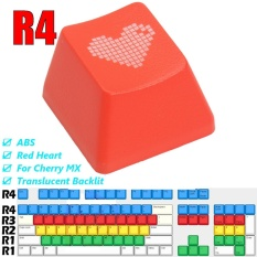 ABS Red Heart Keycap Translucent Backlit Keycaps for Cherry Mechanical Keyboard - intlVND49000