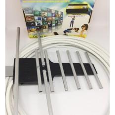 Hình ảnh Anten DVB T2 và 15m cáp đông trục RG6 bấm đầu sẵn (Xám)