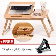 Hình ảnh Bàn gỗ laptop có 2 quạt tản nhiệt GocgiadinhVN L06+ Tặng kèm giá điện thoại