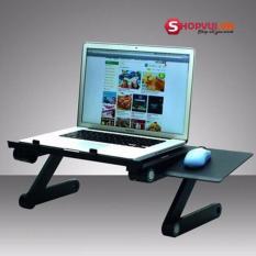 Hình ảnh Bàn Kê Laptop 3 khớp xoay 360 độ, 2 Quạt Tản Nhiệt Có Bàn Di Chuột (Đen)