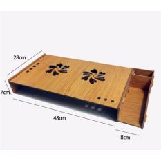 Bàn kê màn hình máy tính Monitor, Laptop đa năng bằng gỗ ghép tiện dung có khe tản nhiệt cao cấp (Nâu)