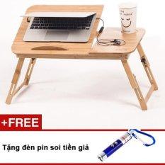 Bàn Laptop Gỗ đa năng GocgiadinhVN01 + Tặng kèm đèn pin soi tiền giả
