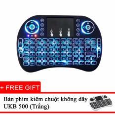 Bàn phím kiêm chuột không dây cho Smart TV, TV Box - Có đèn LED nền + Tặng Bàn phím kiêm chuột không dây UKB500 (Trắng)