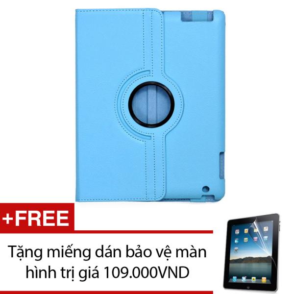 Giá Bao da dành cho iPad 2 3 4 Xoay 360 - Lopez Cute (Xanh dương) + Tặng miếng dán bảo vệ màn hình trị giá 109.000VND