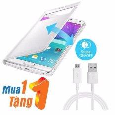 Chiết Khấu Bao Da S View Cửa Sổ Nhỏ Cho Samsung Galaxy Note 4 Tặng Cable Samsung Note 4 Trắng Hà Nội