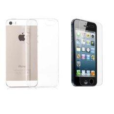 Bộ 1 miếng dán cường lực và 1 ốp lưng dẻo cho iPhone 5/5S/SE (Trong Suốt)