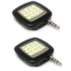 Bộ 2 đèn flash 16 bóng led hỗ trợ ánh sáng cho điện thoại (Đen)