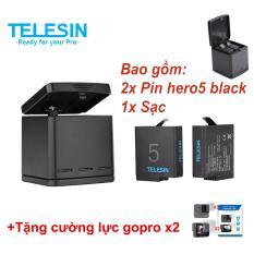 Chiết Khấu Bộ 2 Pin Va Dock Sạc 3 Khe Cho Gopro Hero 5 6 Black Telesin Telesin