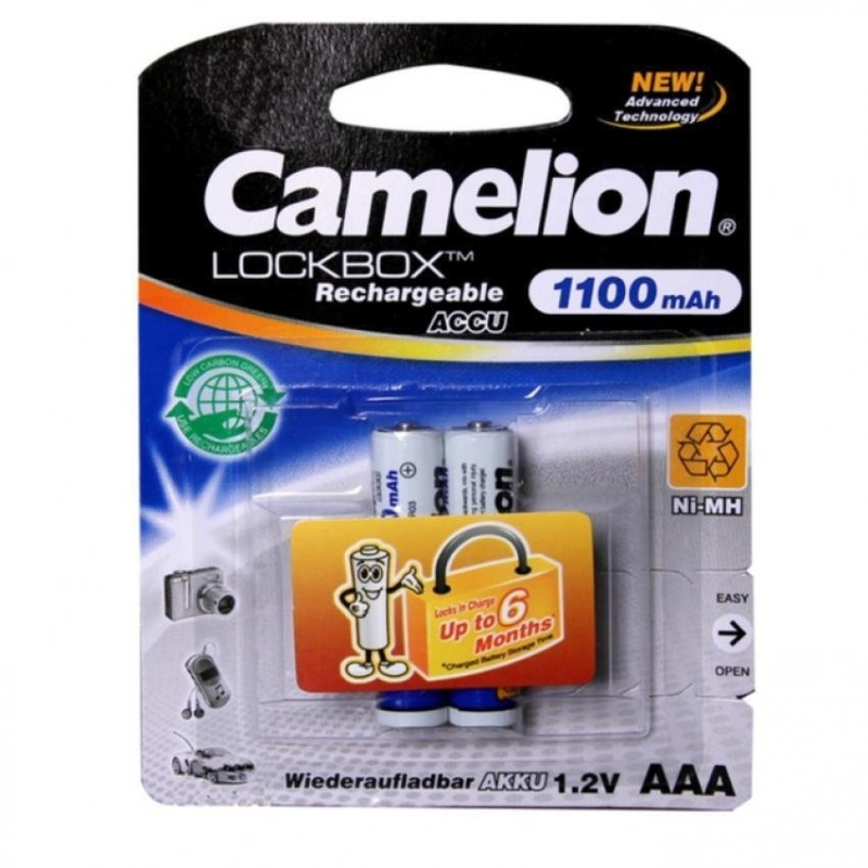 Bộ 2 pin sạc Camelion Lockbox Rechargeable 1100mAh AAA (Trắng)