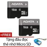 Giá Bán Bộ 2 Thẻ Nhớ 16Gb Adata Micro Sdhc Đen Tặng 1 Đầu Đọc Thẻ Nhớ Mẫu Ngẫu Nhien Rẻ Nhất