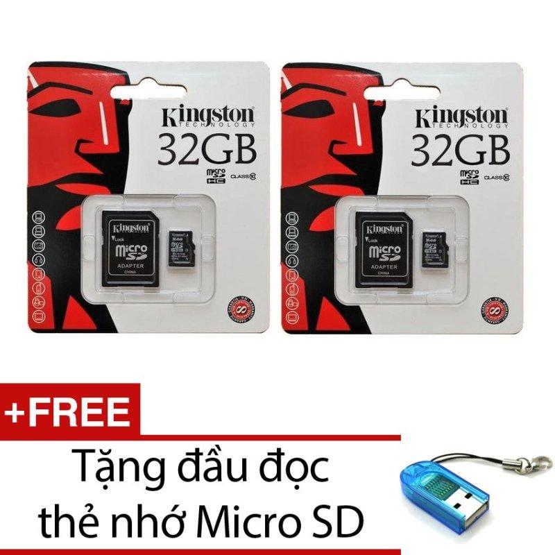 Bộ 2 Thẻ nhớ Kingston Micro SDHC Class10 32GB và Adapter (Đen) + Tặng 1 đầu đọc thẻ nhớ