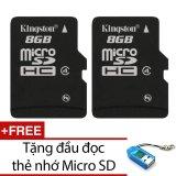 Ôn Tập Tốt Nhất Bộ 2 Thẻ Nhớ Kingston Micro Sdhc Class4 8Gb Đen Tặng 1 Đầu Đọc Thẻ Nhớ