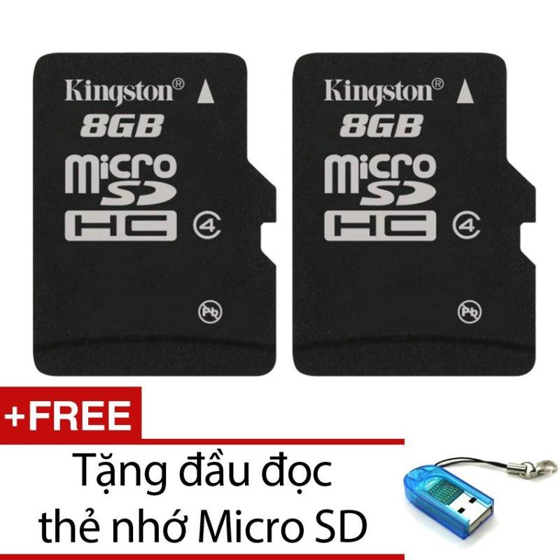 Bộ 2 Thẻ nhớ Kingston Micro SDHC Class4 8GB (Đen) + Tặng 1 đầu đọc thẻ nhớ