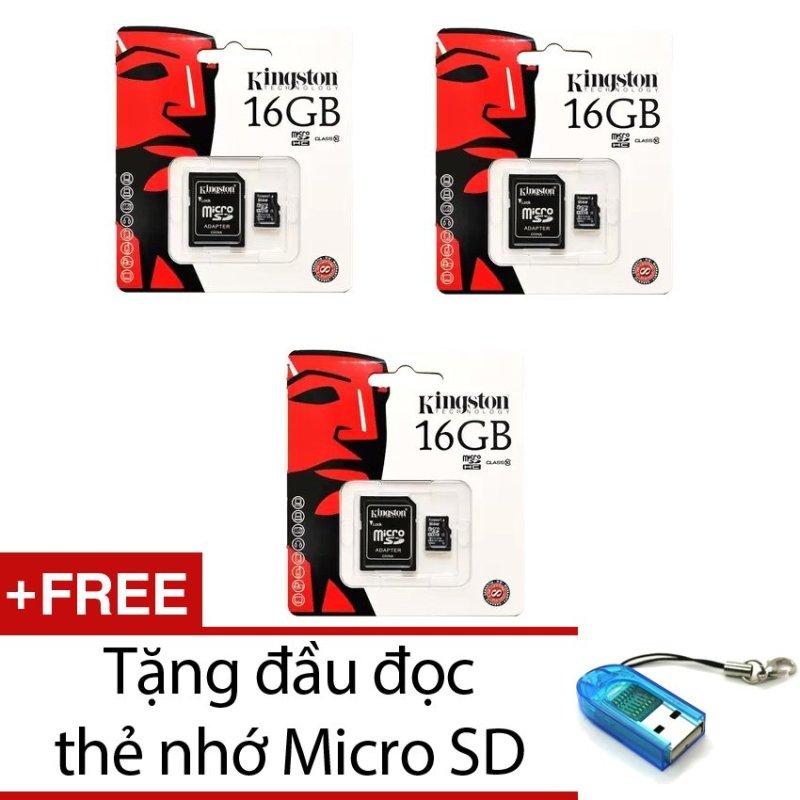 Bộ 3 Thẻ nhớ Kingston Micro Class 10 16GB kèm Adaptor (Đen) + Tặng 1 đầu đọc thẻ nhớ micro