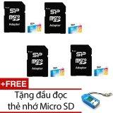 Giá Bán Bộ 4 Thẻ Nhớ 16Gb Micro Sdhc Silicon Power Va Adapter Xanh Tặng 1 Đầu Đọc Thẻ Nhớ Micro Mẫu Ngẫu Nhien Silicon Power Mới