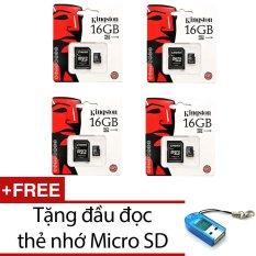 Bộ 4 Thẻ nhớ Kingston Micro Class 10 16GB kèm Adaptor (Đen) + Tặng 1 đầu đọc thẻ nhớ micro PT