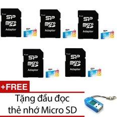 Bán Bộ 5 Thẻ Nhớ 16Gb Micro Sdhc Silicon Power Va Adapter Xanh Tặng 1 Đầu Đọc Thẻ Nhớ Mẫu Ngẫu Nhien Có Thương Hiệu