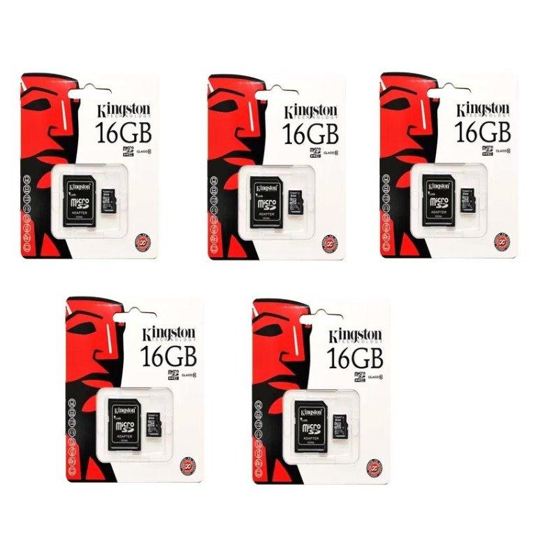 Bộ 5 Thẻ nhớ Kingston Micro Class 10 16GB kèm Adaptor (Đen)