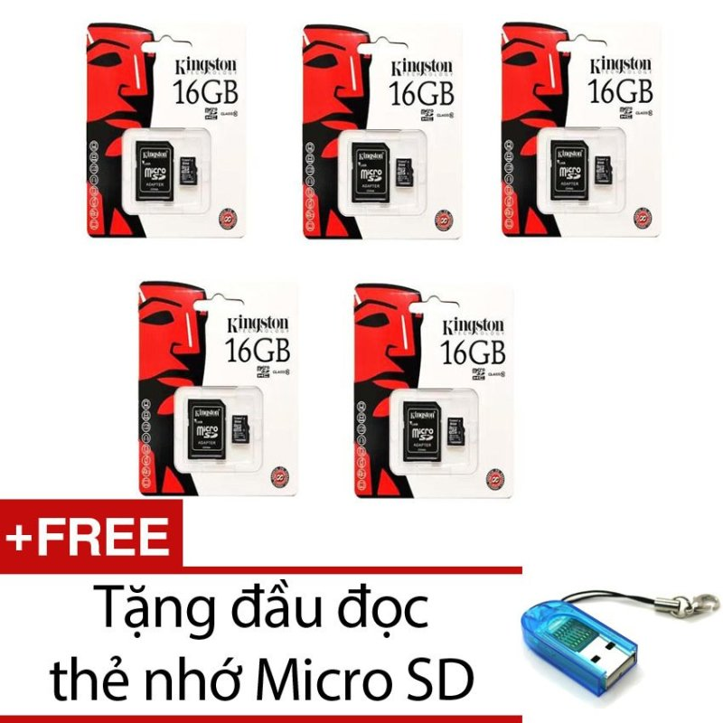 Bộ 5 Thẻ nhớ Kingston Micro Class 10 16GB kèm Adaptor (Đen) + Tặng 1 đầu đọc thẻ nhớ micro PT