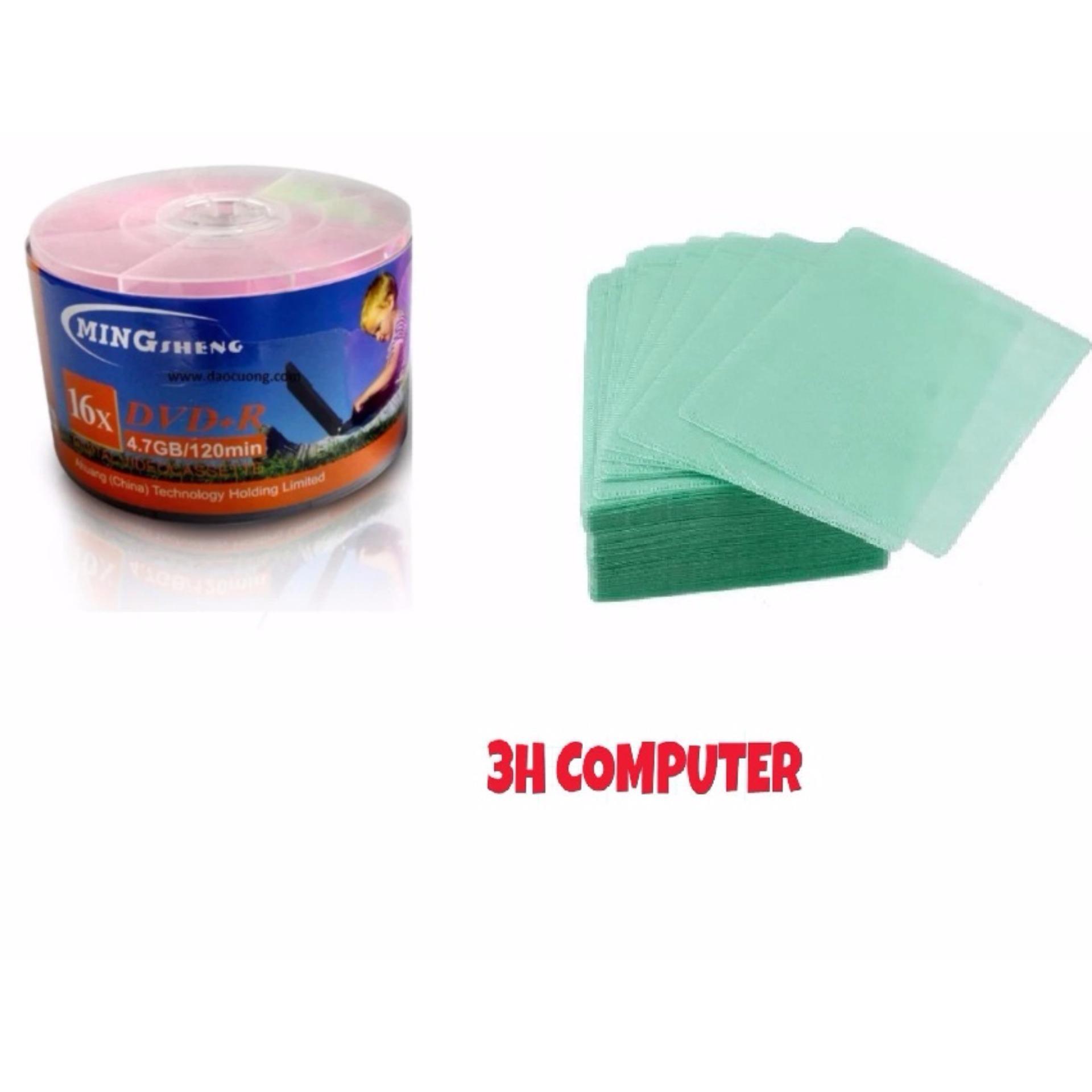 Báo Giá Bộ 50 đĩa DVD trắng MINGSHENG tặng 100 bọc để đĩa trắng