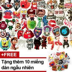 Hình ảnh Bộ 50 miếng dán sticker ngẫu nhiên trang trí Laptop Mũ Bảo Hiểm - Tặng thêm 10 miếng