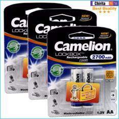 Bán Bộ 6 Pin Sạc Aa Camelion Lockbox Rechargeable 2700Mah Trắng Nguyên