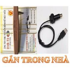 Bộ Anten KTS mạch khuếch đại DVB-T2 + 15m dây+ cáp cấp nguồn USB (Đen)