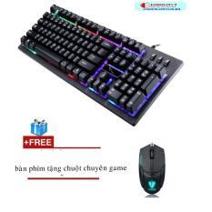 Hình ảnh Bộ bàn phím giả cơ có led 7 màu chuyên game GMTP G20 (Đen) + Tặng chuột chơi game tốc độ