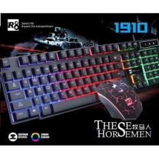 Hình ảnh Bộ bàn phím giả cơ và chuột chuyên game R8 1910 Led 7 màu (Đen)