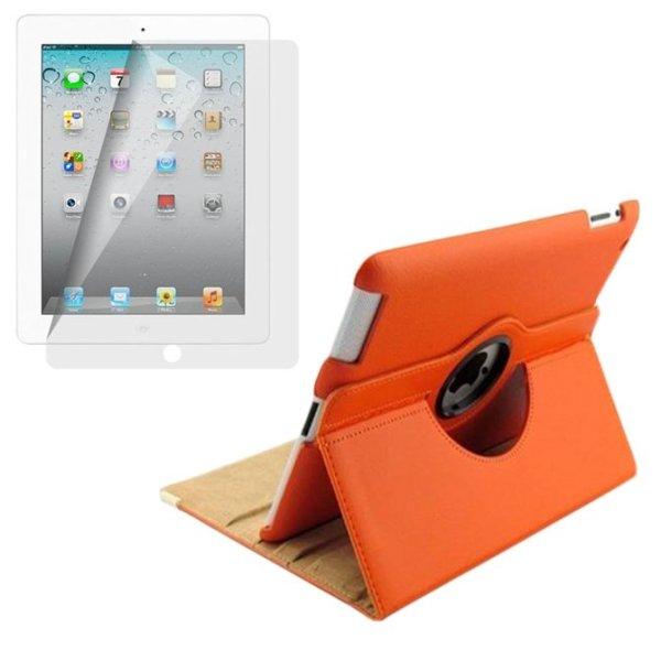 Giá Bộ Bao da iPad Mini Xoay 360 và Miếng dán bảo vệ màn hình Lopez Cute (Cam)