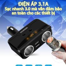 Hình ảnh Bộ chia tẩu sạc oto, xe hơi (Loại tốt) HYUNDAI (bán chạy) 2 tẩu 2 USB (đen)