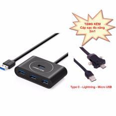 Hình ảnh Bộ chia USB 3.0 với 4 cổng dòng cao cấp Ugreen UG-20291 cáp dài 80cm + Dây sạc điện thoại đa năng 3 cổng Lightning Type-C Micro USB