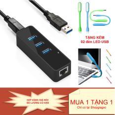 Hình ảnh Bộ chia USB HUB 3 cổng USB 3.0 tích hợp cổng Lan GIGABIT chất lượng cao + Tằng kèm 02 đèn LED USB thời trang