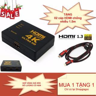 Bộ chuyển đổi HDMI 4K Switch 3 port 3 đầu HDMI vào và 1 Đầu HDMI ra (Đen) + TẶNG kèm 02 cáp HDMI tròn 2 đầu chống nhiễu dài 1.5m thumbnail