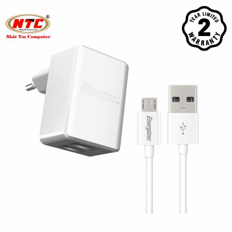 Bộ cốc cáp sạc Energizer MicroUSB HT 2.4A 2 cổng USB ACW2BEUHMC3 (Trắng) - Hãng phân phối chính thức
