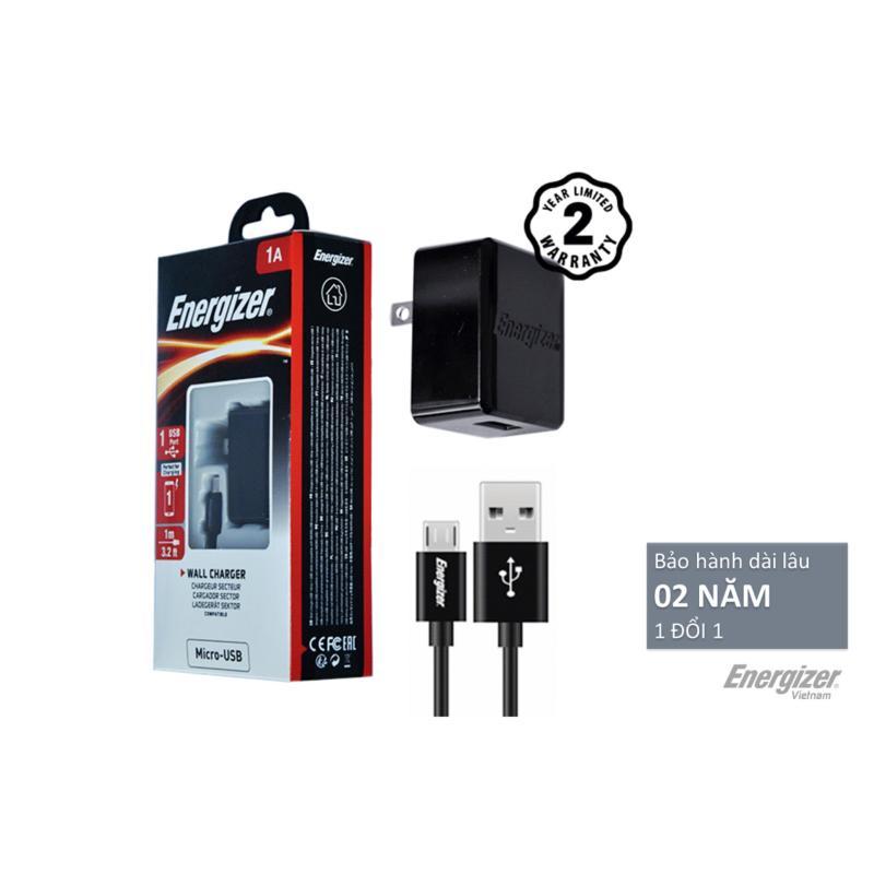 Bộ cốc cáp sạc Energizer MicroUSB HT 2.4A 2 cổng USB (Đen) - Hãng phân phối chính thức