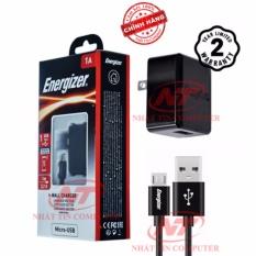 Bộ cốc cáp sạc microUSB Energizer CL 1A 1 cổng USB (Đen) - Hãng phân phối chính thức