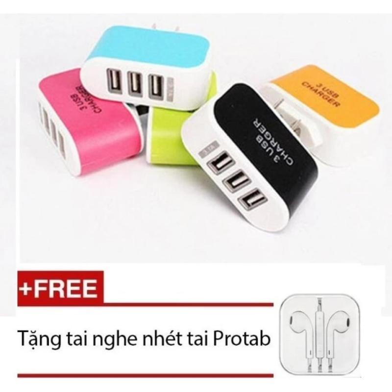 Bộ Cóc sạc điện thoại 3 cổng PGH + Tặng 1 tai nghe nhét tai (Trắng)