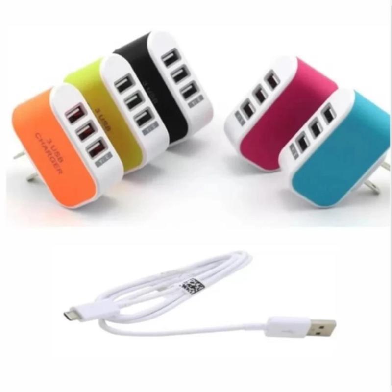 Bộ Cốc sạc điện thoại cao cấp đa năng 3 cổng USB + Cáp sạc tiện ích.